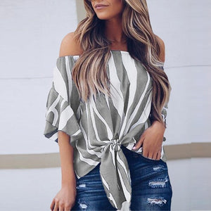 BHflutter Summer Tops for Women 2018 Fashion Off Shoulder Summer Blouses Shirts Ladies Striped Casual Chiffon Blouse Blusas