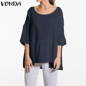 VONDA Maternity Clothing Women Tunic Tops 2019 Summer Plus Size Pregnant Blouse Long Shirt Lady Casual Baggy Cotton Blusas Mujer