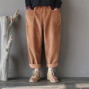 Johnature 2019 Spring New Corduroy Pants Vintage Women Trouser Pockets Elastic