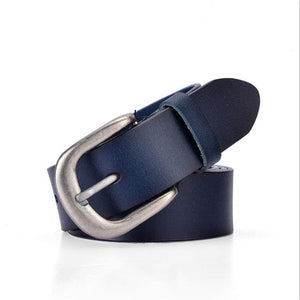 SupSindy Leather Belts for Women fashion Pin Buckle Female Waistband luxury Blue Genuine Leather Women's Belt jeans high quality