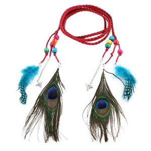 Women Belt For Dress Women Bohemian Belt Braided Rope Peacock Feather Fringe Belt Vintage Waist Belt Elastic cinturon mujer A9