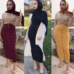 Plus Size 2019 Summer Abaya Musulmane Women High Waist Button Bodycon Maxi Skirt Long Turkish Islamic Skirts Clothing Jupe Femme