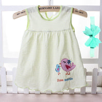 2019 Summer Cute Baby Girl 100% Cotton Newborn Infant girl Princess Dress 0-18 Months Baby Clothes Lovely Cartoon with Headband