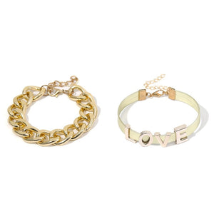 Ingemark 2Pcs/Set Punk Love Letter Bracelet Bangles Women Fashion Aluminum