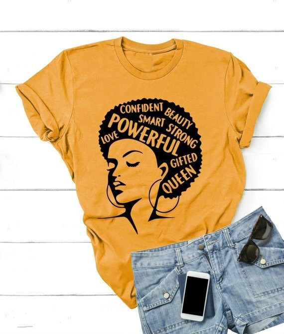 Afro Lady Shirt Women Feminist Tee Girl Power Tshirt Summer Fashion Short Sleeve T-shirt Inspiring Words Letters Printing Cotton