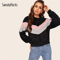 SweatyRocks Colorblock Active Wear Sweatshirt Long Sleeve Patchwork