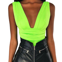 Neon Skinny New Summer Fluorescent Green Bodysuits Sexy Club Bodycon Rompers