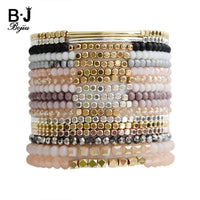 BOJIU Multicolor Crystal Strand Bracelets For Women Gold Acrylic Copper Beads