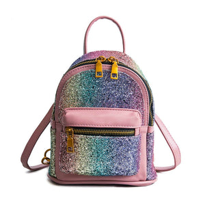 2018 Cute Mini Backpacks for Girls Leather Purse Bagpack Colorful Sequins Designer