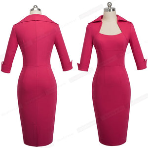 Autumn Professional Women Formal Sheath Bodycon Slim Elegant Work Business Office Lady Dress HB471