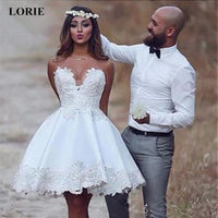 Super Mini Wedding Dress A-Line Stain Lace Appliques Summer Cute Sleeveless