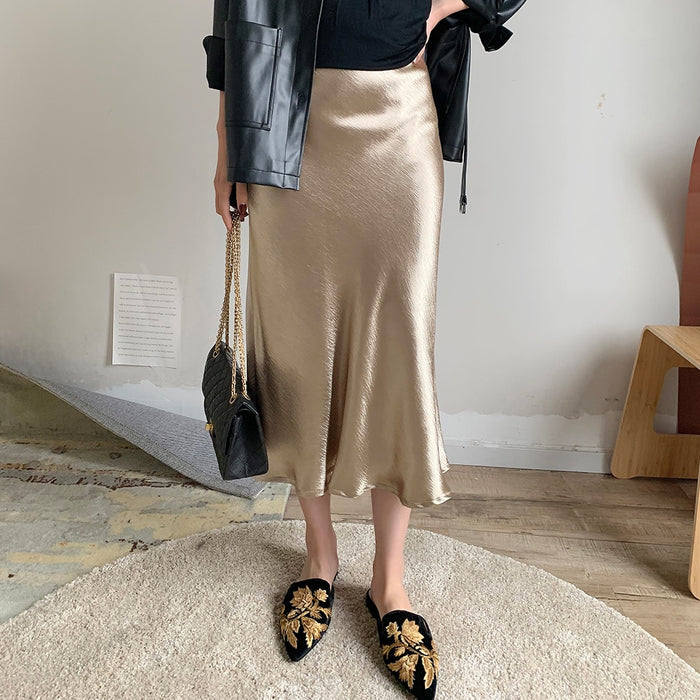 Bella Philosophy Self Design Summer glossy satin trumpet high waist skirt Silver gold long skirt Metallic Color party skirt