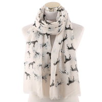 Winfox Pink Black Dog Scarf for Women Spring Summer Long Shawl Female Wraps Foulard Hijabs Soft Beach Stoles