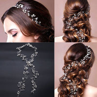 Long Headbands Crystal Pearl Wedding Hair Accessories Braid Jewelry Bridal