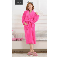 Women Men Flannel Bath Robe Sleepwear 2018 Autumn Winter Solid Plush Couple Bathrobe Thick Warm Female Robe