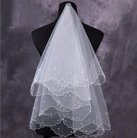 Simple and Elegent Wedding Veil Simple Tulle White Ivory Two Layers Bridal Bride