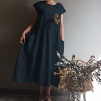 2019 Summer Celmia Women Dress Vintage Linen Pleated Long Shirt Sundress Casual Short Sleeve Loose Maxi Vestidos Robe Plus Size