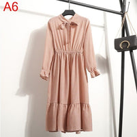 Dress Long Sleeve Office Polka Dot Vintage Dress  Autumn Shirt Chiffon Midi Dress