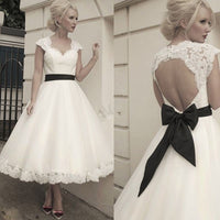 Elegant V-neck Backless Lace Vesidos De Novia Backless A-Line Wedding Dresses