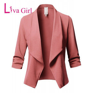Blazers For Women Spring Autumn Long Sleeve Open Front Ladies Work Coats