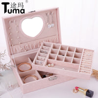 2019 New Design Pu Leather Jewelry Box Double-layer Wooden Frame Princess Jewelry Storage Box Cosmetic Box Highly  Recommend
