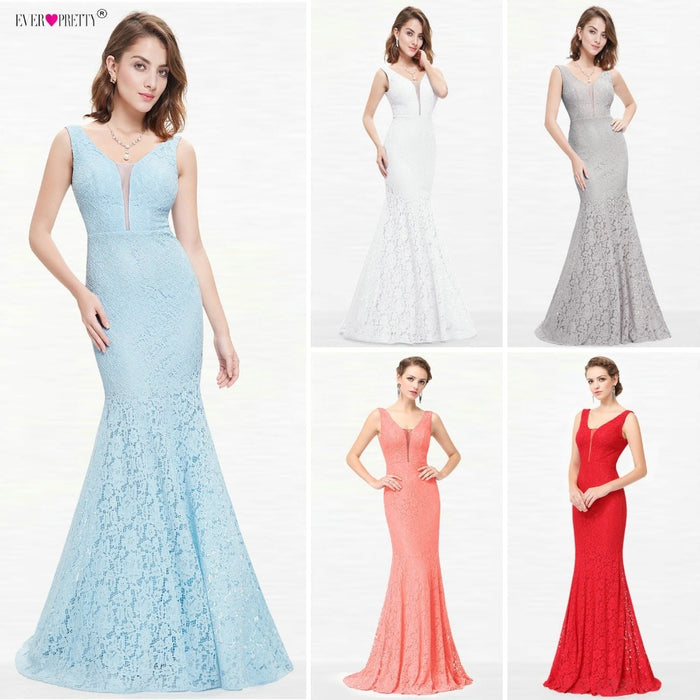 Lace Mermaid Prom Dresses Long 2019 Ever Pretty EP08838 Christmas Holiday