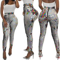 night bar club Sequins Leggings women sexy punk leggings girl fashion gothic