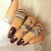 ProYearn Bohemia Vintage Silver Flower Leaf Rings for Women Boho Stackable Knuckle Rings Set Jewelry Accessories