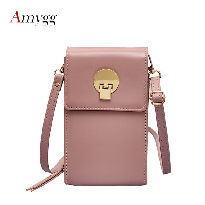 2019 Flap Women Ladies Lock Mobile Phone Wallets PU Leather Lovely Purse For Female Credit Card Shoulder Bags Mini Messenger Bag
