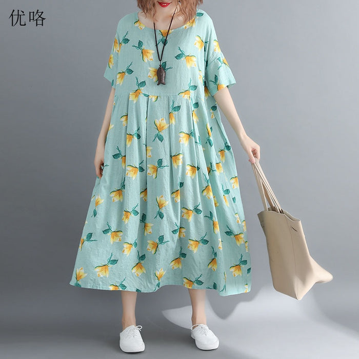 Women Plus Size Sundress 4XL 5XL 6XL 7XL 8XL Summer Fashion Big Swing Floral Printed Cotton Dress Casual Loose Long Dresses 2019