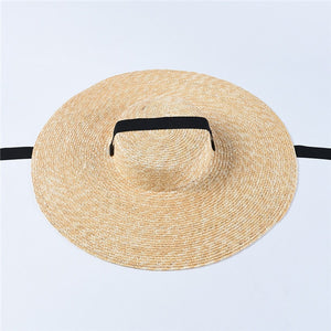 USPOP 2019 Newest women sun hat french style wide brim straw hat casual natural wheat straw hat lace-up beach hat shade