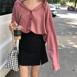 Shirts Women All-match Retro Classic Solid V-neck Leisure Womens Shirt Korean