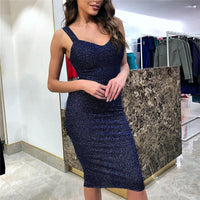 Elegant Women Sleeveless silver lurex Bodycon Pencil Dress Vogue Female Party Cocktail Slim Fit Ball Sequins Split Wrap Dresses