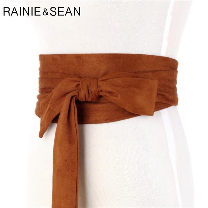 RAINIE SEAN Suede Belts Cummerbunds Bow Tie Wide Belts For Women Corset Camel Autumn Winter Waist Belt Female Waistband