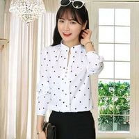 Women White Shirt Ladies Blouses Polka Dot Blouse OL Shirt Fashion Classic Tops