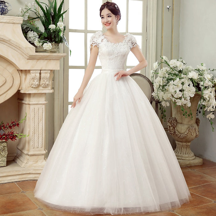 Ball Gown Wedding Dresses Plus Size Cheap White Lace Appliques Bride Dress Simple