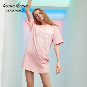 Vero Moda Letter Print Leisure Long T-shirt Dress