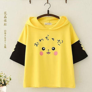 SzBlaZe Pokemon Pikachu Anime Cartoon Hooded T Shirt Short Sleeve Mori Girls Cute With Ears Print  kawaii  Hooded TShirt Top Tee