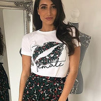 OOTN Sexy Lips Print Summer Tshirts Women White T Shirts Female Casual 2019 Tee Shirt Femme Short Sleeve Tops Floral Chemise