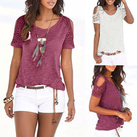 New Fashion Solid Color Women Clothes Casual Womens Bohemian Short Sleeve O Neck Lace Patchwork Tops Tee Shirt Top #C