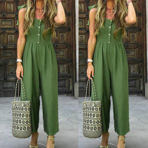 2019 New Green Simple Jumpsuit Womens Casual Summer Solid Color