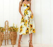 Vintage Casual Sundress Female Beach Dress Midi Button Backless Polka Dot Striped Women Dress Summer 2019 Boho Sexy Floral Dress