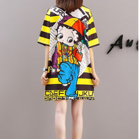 QING MO 6 Styles Women Summer Dress 2019 Printed Doll Yellow Striped Dress