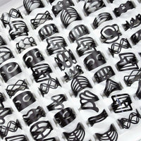10Pcs Women Vintage Black Ring Gypsy Adjustable Finger Tattoo Rings Lots Toe Ring Female Jewelry Mixed Random Style LR4039