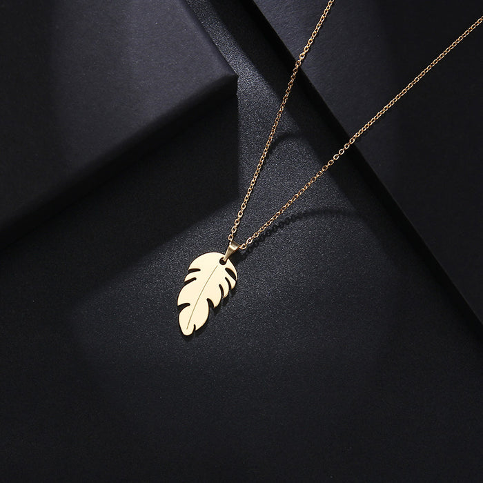 DOTIFI Stainless Steel Necklace For Women Man Lover's Feather Gold And Silver Color Pendant Necklace Engagement Jewelry