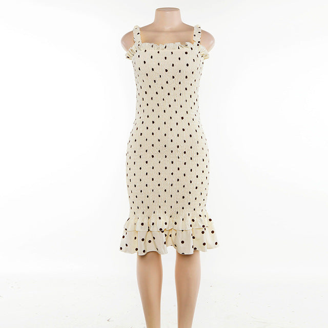 Beige Dot Print Fashion Sleeveless Summer Dress Ruffles