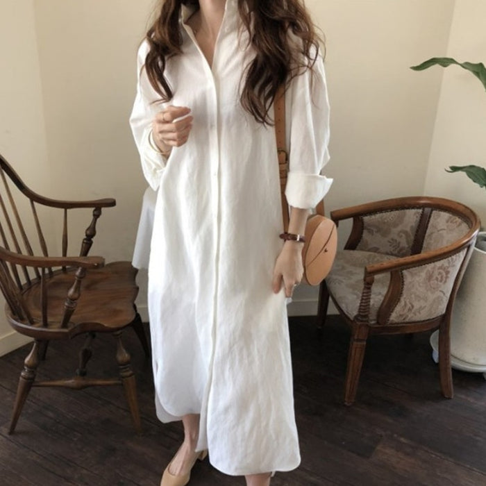 Loose Shirt Type Dress Personality Full Sleeve Long Section Autumn Vintage