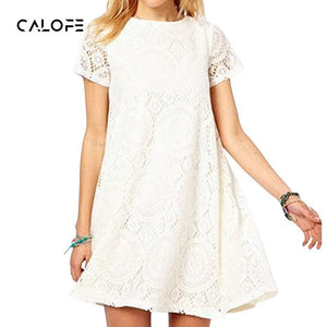 CALOFE 2019 New Summer Lace Print Dress Casual Sundress Loose O Neck Short Sleeve Hollow Out Slim Beach Sundress Plus Size 5XL