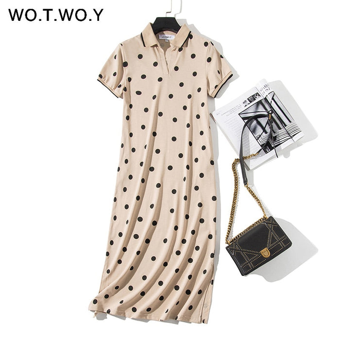 WOTWOY Summer Polo Shirt Dress Women Dot Print Plus Size Loose Cotton
