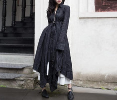 2019 New Spring Summer Lapel Long Sleeve Black Fold Spliced Bandage